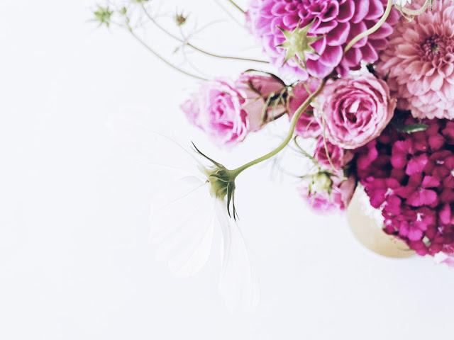 Auf der Mammilade n-Seite des Lebens   Personal Lifestyle Blog   Blume   Blüte   weiße Kosmea   Dahlien pink   Rosen pink