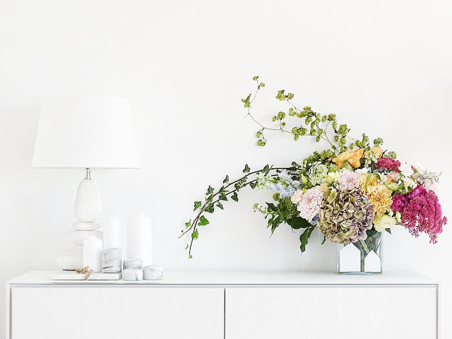 Auf der Mammilade|n-Seite des Lebens | Personal Lifestyle Blog | Blumenstrauß DIY | Blumengesteckt | Herbstblumen | Hortensien | Hopfen | Efeu | Fette Henne | Raumplus | Ligran