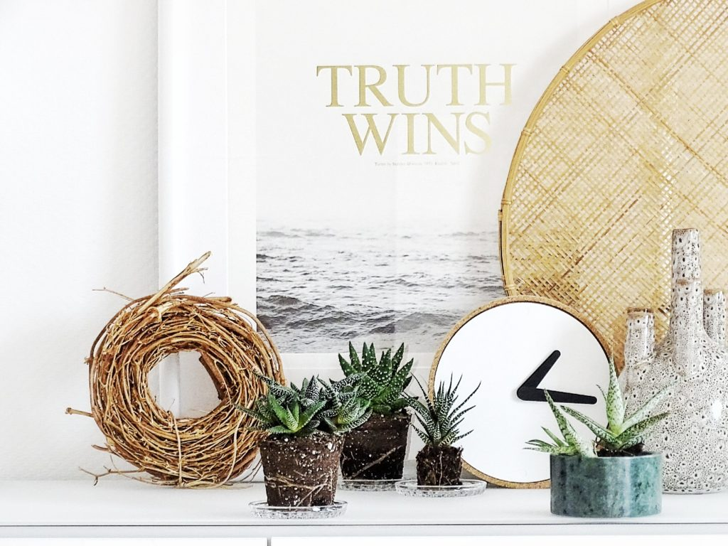 Auf der Mammilade|n-Seite des Lebens | Personal Lifestyle Blog | Kreativ mit Blumen und Pflanzen | Tipps für das Gestalten und Fotografieren von Stillleben | Urban Jungle Blogger | Desert Still Life | Sukkulenten | Kork Uhr PuikArt | House Doctor Vase | Congo Studio Poster | Truth wins