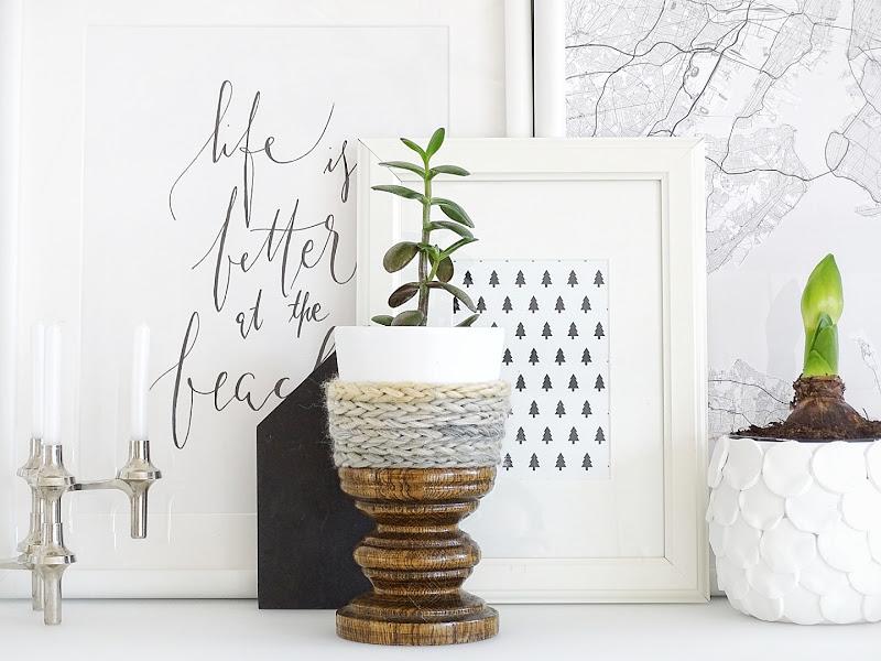 Auf der Mammiladen|n-Seite des Lebens | Personal Lifestyle Blog | Blumenübertöpfe selber aufhübschen mit Modeliermasse, durch Fingerstricken und mit Korkpapier | DIY Geschenkideen | Amaryllis | Geldbaum