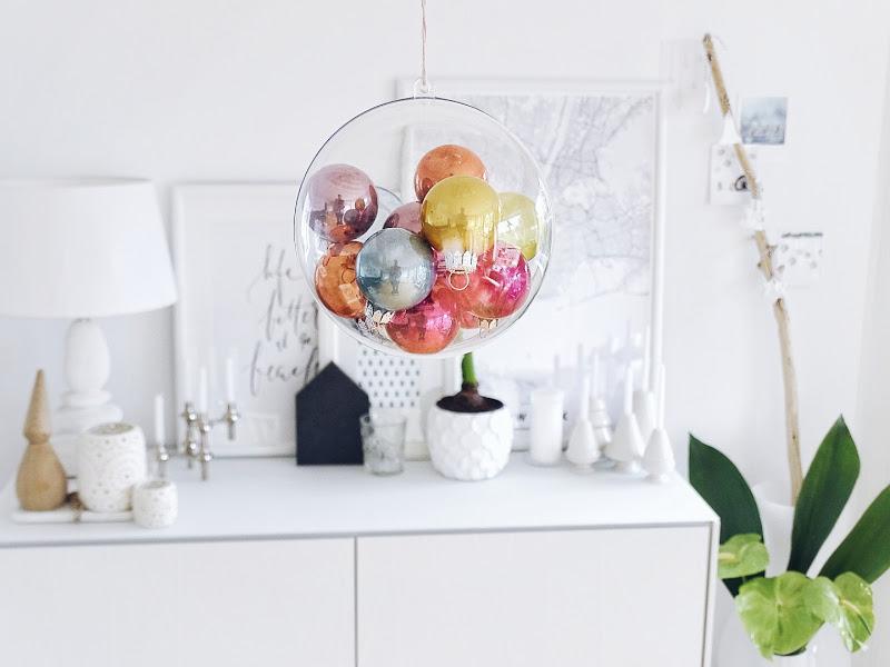 Auf der Mammilade|n-Seite des Lebens | Personal Lifestyle Blog | Lieblinge und Inspirationen der Woche | DIY Deko für Weihnachten | hängende Dekokugel mit bunten Christbaumkugeln gefüllt
