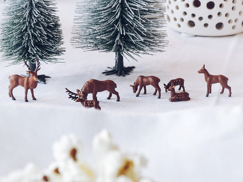 Auf der Mammilade|n-Seite des Lebens | Personal Lifestyle Blog | Kreative und originelle DIY-Dekoration für den Familientisch zu Weihnachten | Holzeisenbahn, Pflanzen und Miniatur-Landschaft als winterlich-weihnachtliche Tischdeko-Idee für Familien
