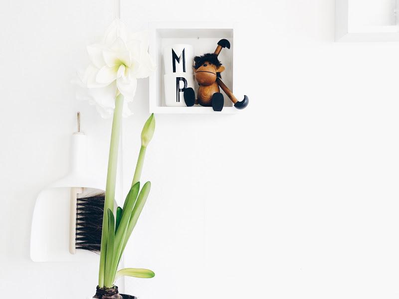 Auf der Mammilade|n-Seite des Lebens | Personal Lifestyle Blog | 5 Lieblinge und Inspirationen der Woche | weiße Amaryllis in der Küche | Kehrblech als Wandschmuck | Vintage Holzaffe