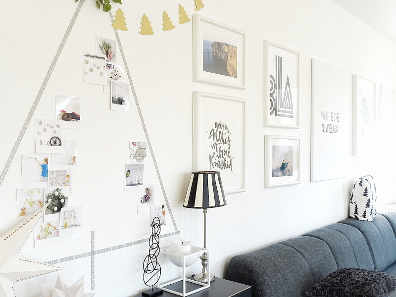 Auf der Mammilade|n-Seite des Lebens | Personal Lifestyle Blog | Lieblinge und Inspirationen der Woche | DIY Deko für Weihnachten | Wandcollage in Tannenform mit Masking Tape und mit Fotos im Retro-Polaroid-Stil gefüllt | Bildergalerie Wohnzimmer