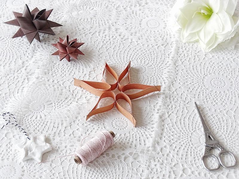 Auf der Mammilade|n-Seite des Lebens | Personal Lifestyle Blog | 12 Wohn-, Lebens- und Familieneinblicke im Dezember | 12von12 | DIY Ornamente zum Aufhängen aus Papierstreifen in Holzoptik