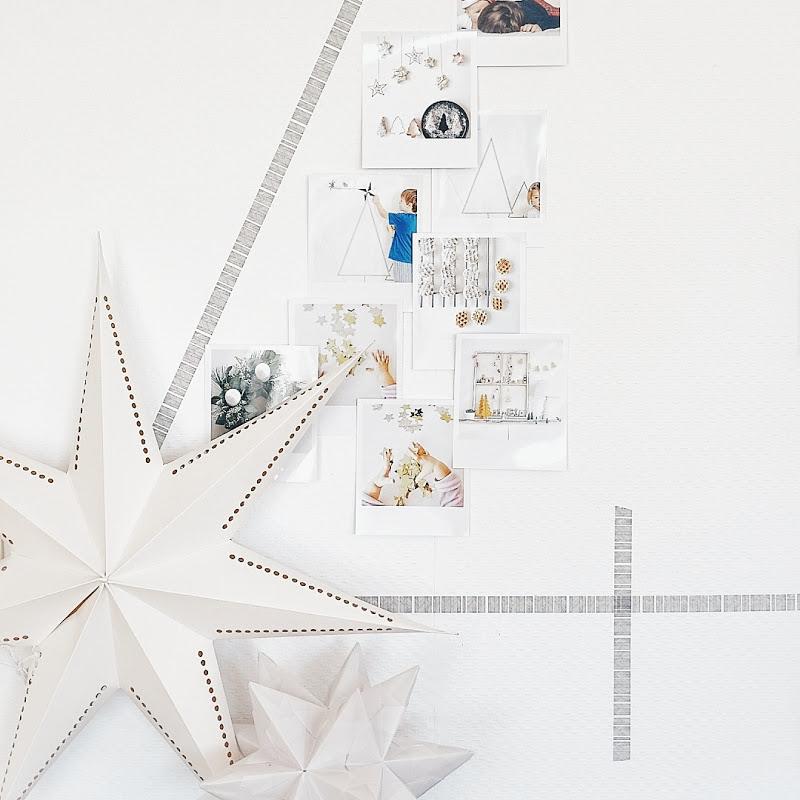 Auf der Mammilade|n-Seite des Lebens | Personal Lifestyle Blog | Lieblinge und Inspirationen der Woche | DIY Deko für Weihnachten | Wandcollage in Tannenform mit Masking Tape und mit Fotos im Retro-Polaroid-Stil gefüllt