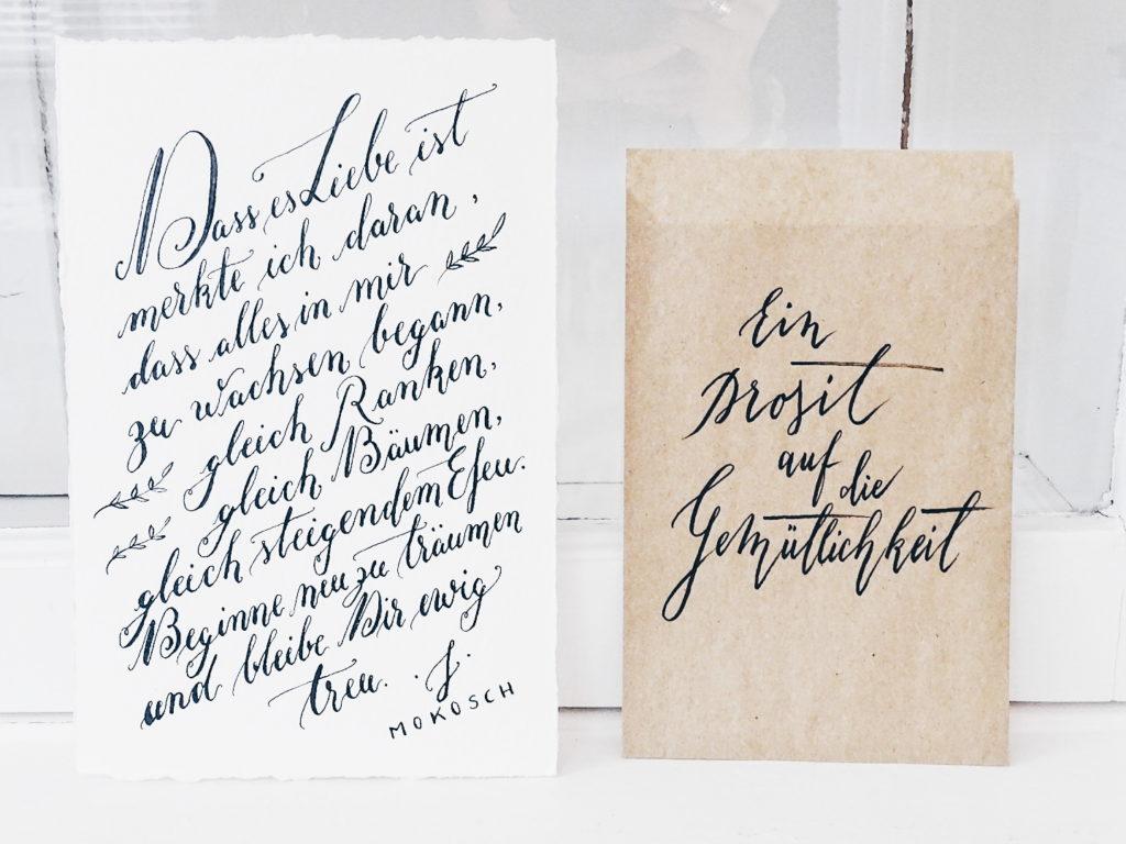 Auf der Mammilade|n-Seite des Lebens | Personal Lifestyle Blog | Kalligrafie | Jeannette Mokosch | Sinn-Spruch Liebe und Gemütlichkeit