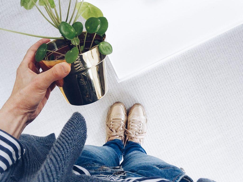 Auf der Mammiladen-Seite des Lebens | A Personal Lifestyle Blog | Pilea Peperomioides | Messing Blumenübertopf | goldene Schuhe