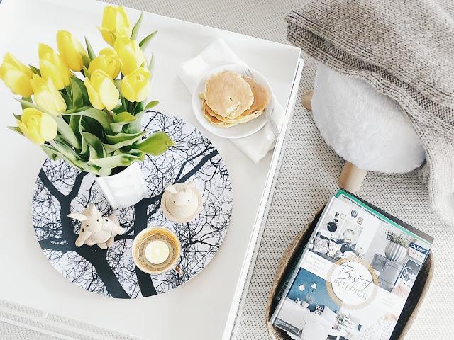 Auf der Mammilade-n-Seite des Lebens | Personal Lifestyle Blog | 5 Lieblinge, Weisheiten und Wohneinblicke mit viel Weiß der Woche | Rezept fuer saftige Bananen-Pfannkuchen | gelbe Tulpen | Best of Interior Callwey Verlag