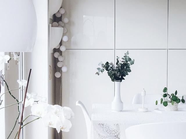 Auf der Mammilade-n-Seite des Lebens | Personal Lifestyle Blog | 5 Lieblinge, Weisheiten und Wohneinblicke mit viel Weiß der Woche | Esstisch-Deko mit Pilea Peperomioides und Eukalyptus