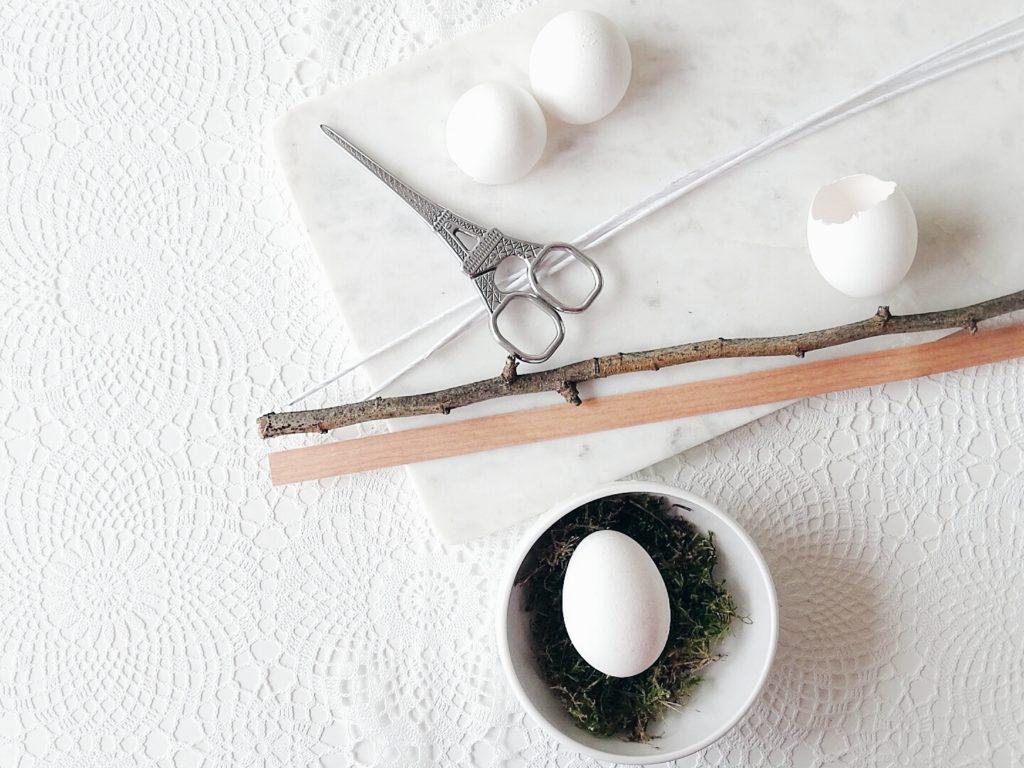 Auf der Mammilade|n-Seite des Lebens | A personal lifestyle and interior blog | DIY-Deko Frühling und Ostern | Geknoteter Papiervogel auf einem Zweig mit Drahtkuppel und Pilea Peperomioides in Eier-Vase