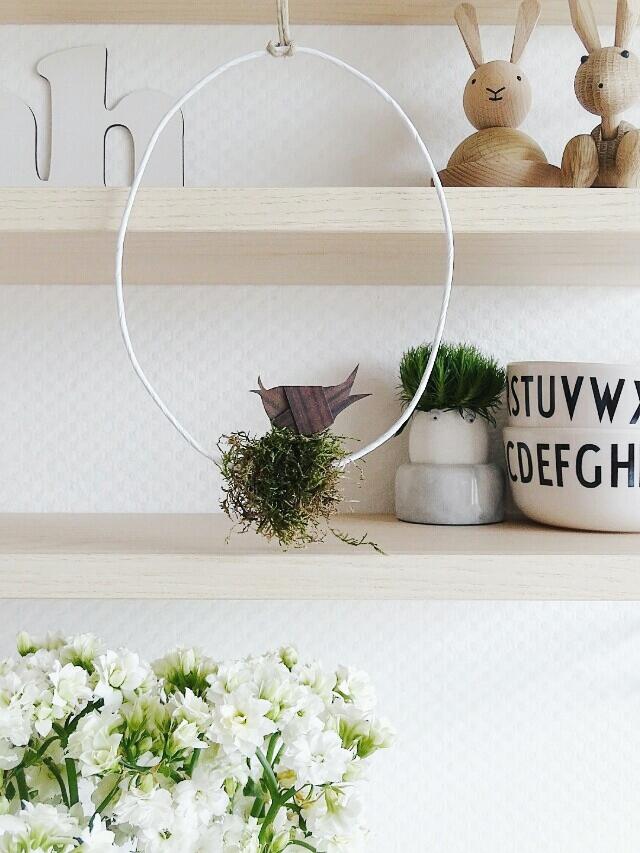 Auf der Mammilade|n-Seite des Lebens | A personal lifestyle and interior blog | DIY-Deko Frühling und Ostern | Geknoteter Papiervorgel im Moosnest im Draht-Ei