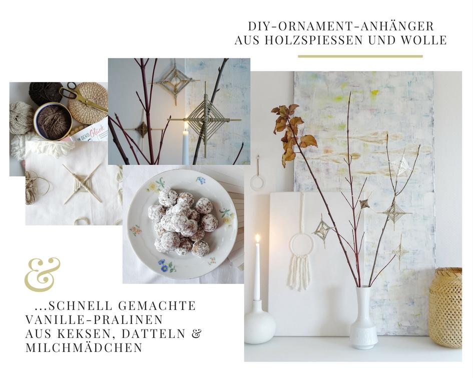 DIY-Ornamente zum Aufhängen aus Holzspießen und Wolle - Vanille-Keks-Pralinen mit Datteln und Milchmädchen - https://mammilade.blogspot.de