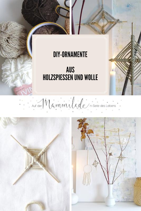 DIY-Ornamente zum Aufhängen aus Holzspießen und Wolle - https://mammilade.blogspot.de