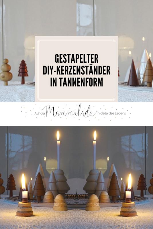 Gestapelte DIY-Kerzenständer in Tannenform aus Holz und Kupfer - Fotoaktion #12von12 und 1 Tag in 12 Bildern - https://mammilade.blogspot.de