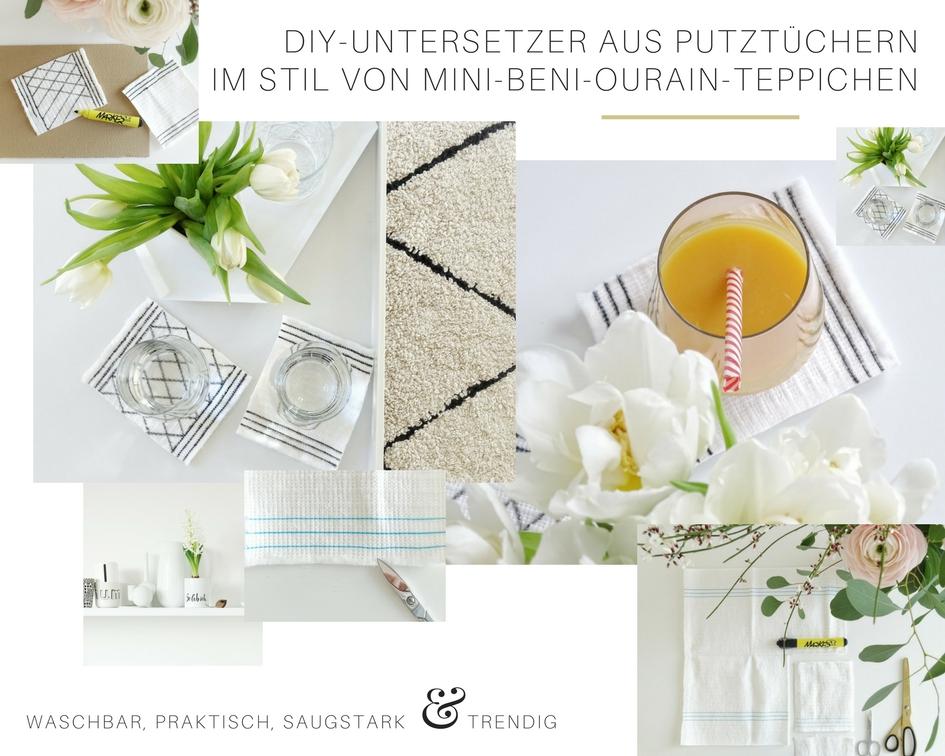 DIY-Untersetzer aus Putztüchern im Stil von Mini-Beni-Ourain-Teppichen - waschbar, praktisch und trendig | Fotoaktion #12von12 und 1 Tag in 12 Bildern | https://mammilade.blogspot.de