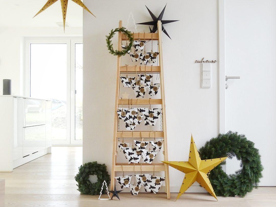 DIY Adventskalender an der Holzleiter mit schnell gemachten DIY Papier-Geschenktüten und Ideen zum Befüllen für Männer und Heimwerker|Innen | mammilade.com