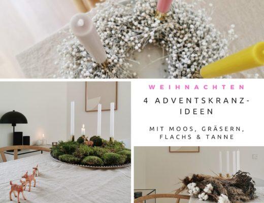 4 Adventskranz-Ideen mit Moos, weißem Flachs, Gräsern und frischem Grün | mammilade.com
