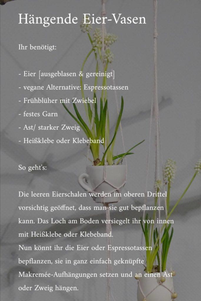 Bepflanzte und mit Blumen befüllte Eierschalen & Espressotassen in Makramée zu Ostern | mammilade.com